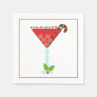 Christmas Cocktail Napkin with martini, olive and Disposable Napkins