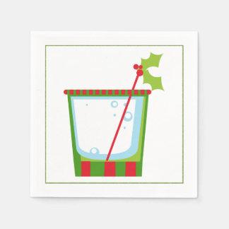 Christmas Cocktail Napkin with martini olive Disposable Napkins