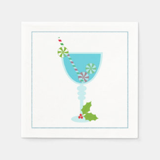 Christmas Cocktail Napkin with martini olive Paper Napkin