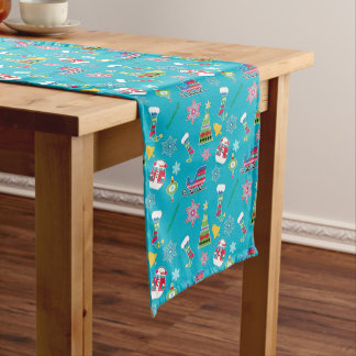 Christmas Collage Pattern on Blue Medium Table Runner