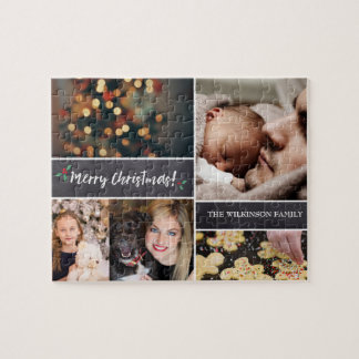 Christmas Collage photos with family name Jigsaw Puzzle