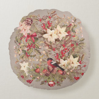 Christmas Collage Round Pillow