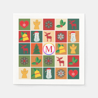 Christmas Collage with Monogram Paper Napkins