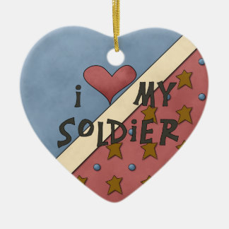 Christmas Collection I Love My Soldier Ceramic Heart Ornament