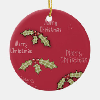 Christmas Collection Merry Christmas Red Holly Ceramic Ornament