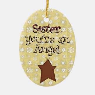 Christmas Collection Sister Angel Star Ceramic Ornament
