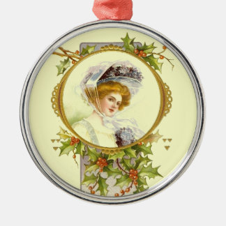 Christmas Collection Vintage Victorian Lady Metal Ornament