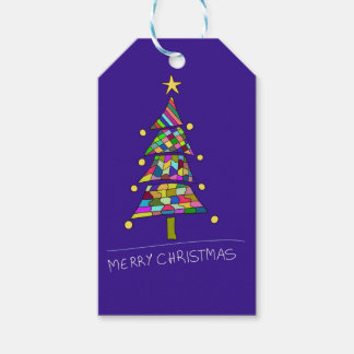 Christmas color tree gift tags