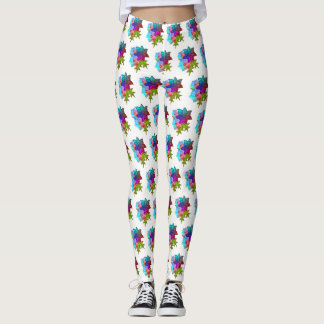 Christmas Colorful Succulent Floral Leggings