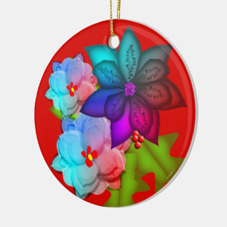 Christmas Colorful Succulent Floral Photo Ceramic Ornament