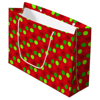 Christmas Colours Polka Dots Large Gift Bag