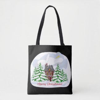 Christmas coming to family house tote bag