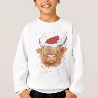 christmas coo Highland Cow with Christmas Hat Sweatshirt