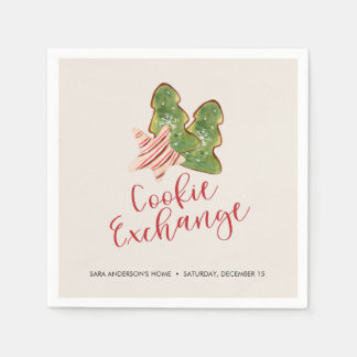 Christmas Cookie Exchange Trendy Watercolor Cookie Paper Napkin