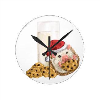 Christmas Cookie Hog Round Clock