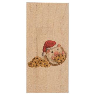 Christmas Cookie Hog Wood USB 2.0 Flash Drive