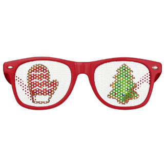 Christmas Cookie Mitten Tree Xmas Festive Holiday Retro Sunglasses