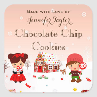 Christmas cookie sticker holiday party favor tag