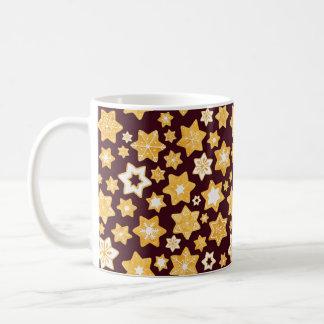 Christmas Cookie Wreath with Burgundy Background Coffee Mug