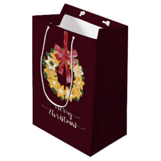 Christmas Cookie Wreath with Burgundy Background Medium Gift Bag