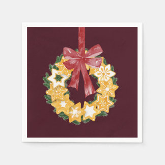 Christmas Cookie Wreath with Burgundy Background Paper Napkin