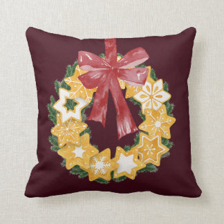 Christmas Cookie Wreath with Burgundy Background Throw Pillow