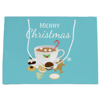 Christmas cookies and hot chocolate holiday large gift bag