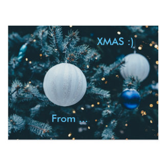 CHRISTMAS COOL | tree and baubles with xmas smiley Postcard