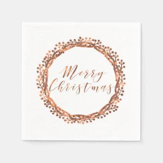 Christmas copper-look berry wreath custom design disposable napkin