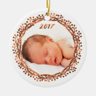 Christmas copper-look berry wreath photo ornament