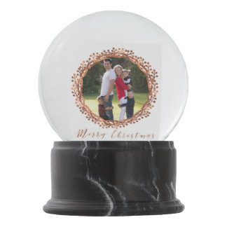 Christmas Copper-look berry wreath photo snowglobe