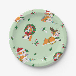 Christmas Corgi Paper Plates
