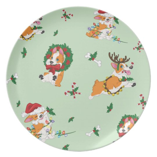 Christmas Corgi Plate