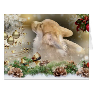 Christmas Corgi Puppy Card