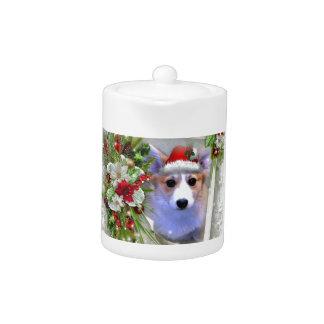 Christmas Corgi Puppy in White Frame