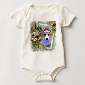 Christmas Corgi Puppy in White Frame Baby Bodysuit