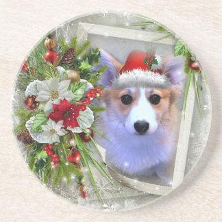 Christmas Corgi Puppy in White Frame Beverage Coasters