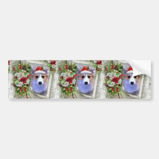 Christmas Corgi Puppy in White Frame Bumper Sticker