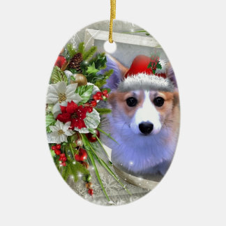 Christmas Corgi Puppy in White Frame Ceramic Oval Ornament