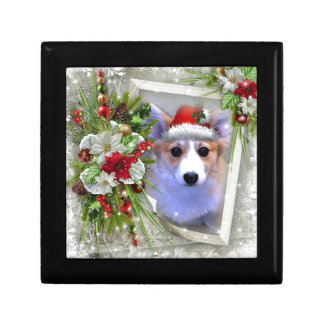 Christmas Corgi Puppy in White Frame Gift Box