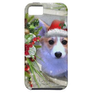 Christmas Corgi Puppy in White Frame iPhone 5 Case