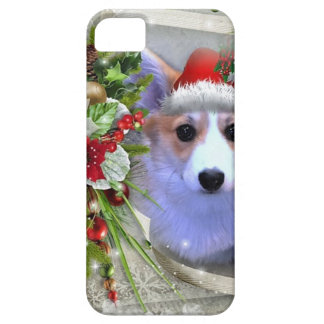 Christmas Corgi Puppy in White Frame iPhone 5 Cases