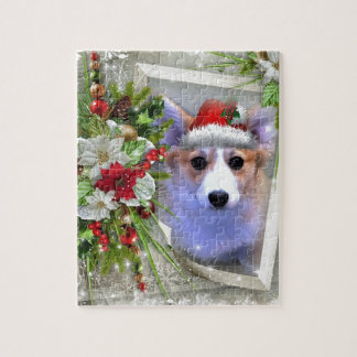 Christmas Corgi Puppy in White Frame Jigsaw Puzzle