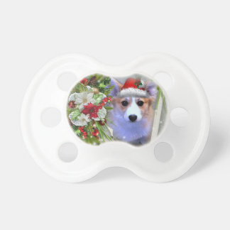 Christmas Corgi Puppy in White Frame Pacifier