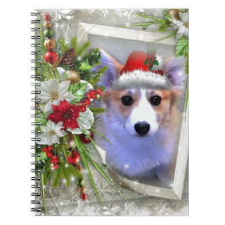 Christmas Corgi Puppy in White Frame Spiral Notebook