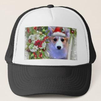 Christmas Corgi Puppy in White Frame Trucker Hat