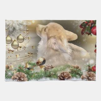 Christmas Corgi Puppy Kitchen Towel