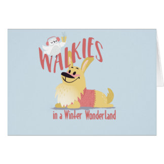 Christmas Corgi Walkies in a Winter Wonderland Card