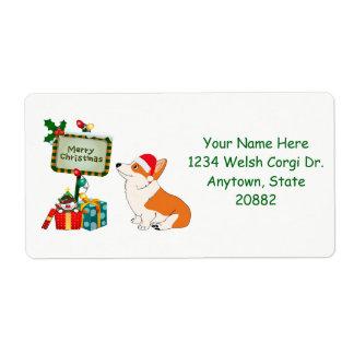 Christmas Corgi with Sign