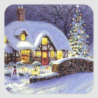 Christmas Cottage Square Sticker